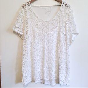 INC White Lace T-Shirt, 3X